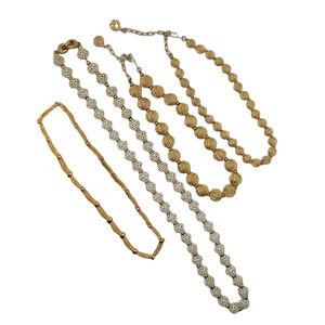 Lot 4 Necklaces Gold Tone White Bead Lisner Monet